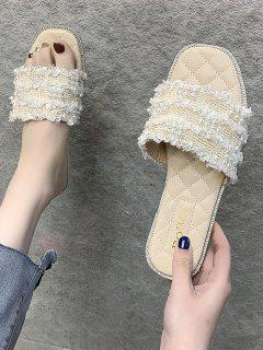 Faux Pearl Woven Flat Slippers - Cool White Eu 39