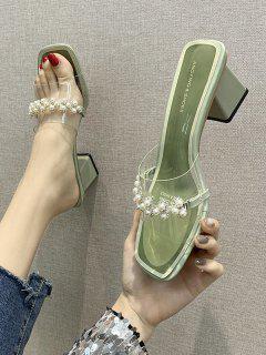 Sandales En Fausse Perle à Talon Epais - Vert Pois Eu 39