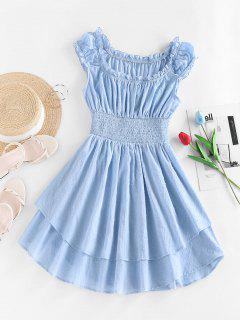 ZAFUL Mini Vestido De En Capas Con Mangas De Smocked - Azul Claro S