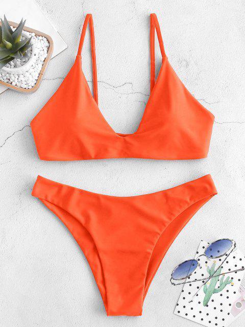 chic ZAFUL Tie Bralette Bikini Set - PUMPKIN ORANGE M Mobile