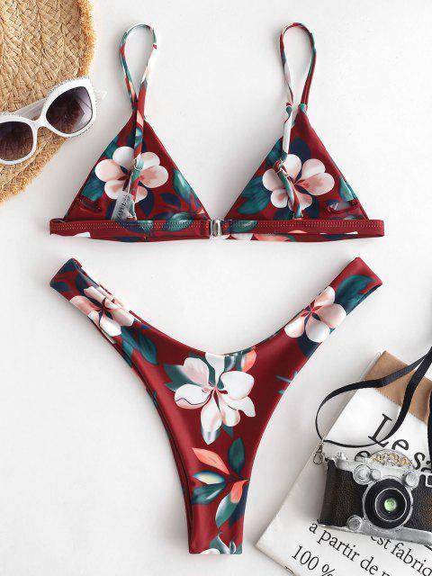 affordable ZAFUL Leaf Print High Leg Bikini Set - RED WINE L Mobile