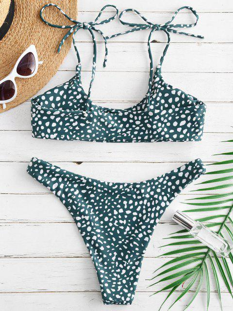 fashion ZAFUL Printed Tie Bralette Bikini Set - MEDIUM SEA GREEN S Mobile