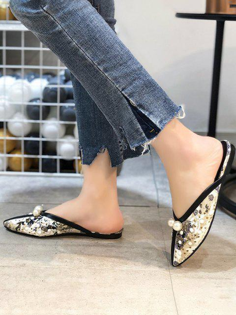 affordable Ethnic Faux Pearl Rivets Lace Slippers - BLACK EU 37 Mobile