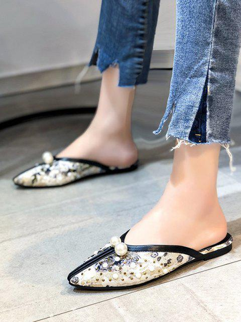 lady Ethnic Faux Pearl Rivets Lace Slippers - BLACK EU 40 Mobile