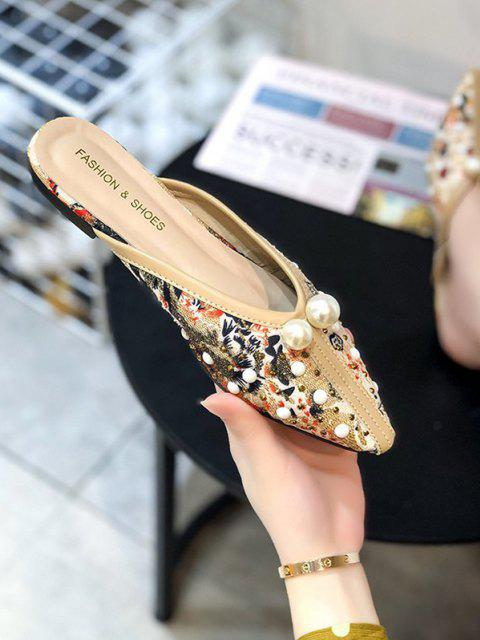 best Ethnic Faux Pearl Rivets Lace Slippers - LIGHT COFFEE EU 40 Mobile
