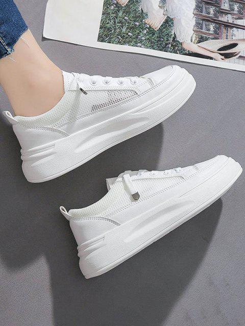 new Lace Up Mesh Platform Sneakers - WHITE EU 37 Mobile