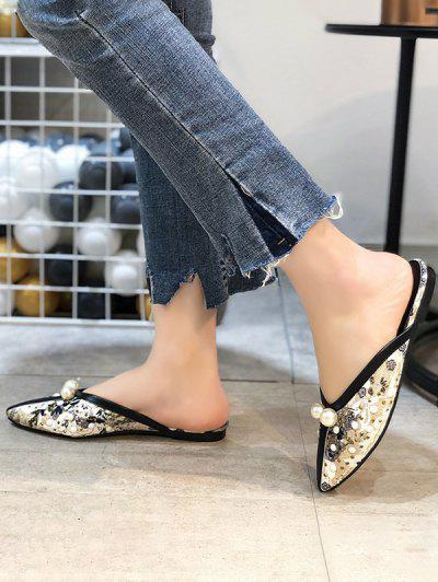Ethnic Faux Pearl Rivets Lace Slippers - Black Eu 37