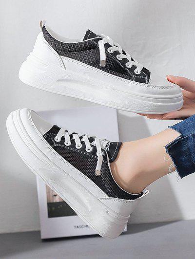 Lace Up Mesh Platform Sneakers - Black Eu 37