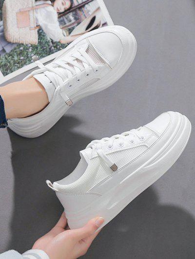 Lace Up Mesh Platform Sneakers - White Eu 37
