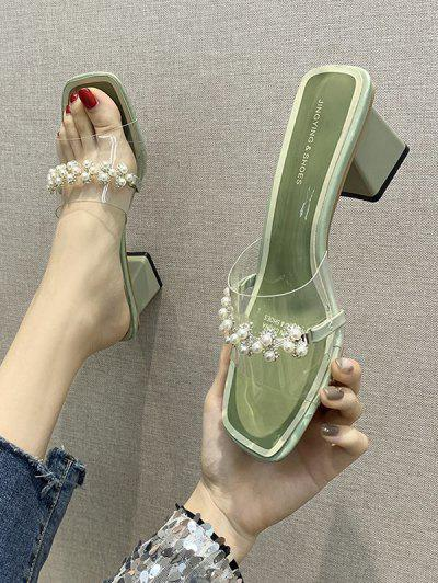 Sandales En Fausse Perle à Talon Epais - Vert Pois Eu 36