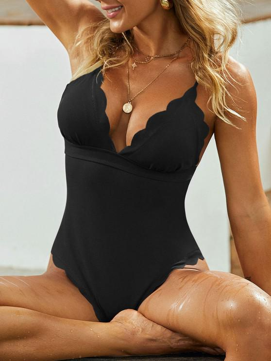 best ZAFUL Textured Scalloped One-piece Swimsuit - BLACK S