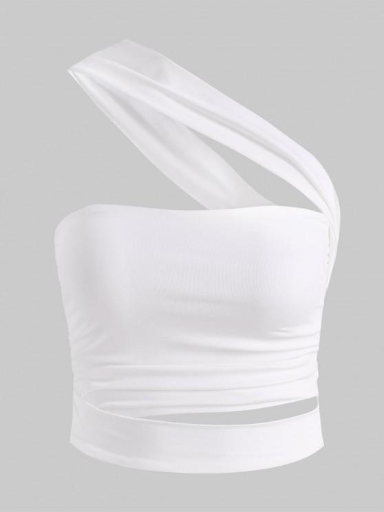 outfit One Shoulder Ruched Cutout Crop Top - WHITE L