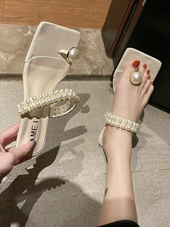 Künstliche Perle Zehenpfosten Kätzchen Absatz Sandalen - Kaltes Weiß EU 37