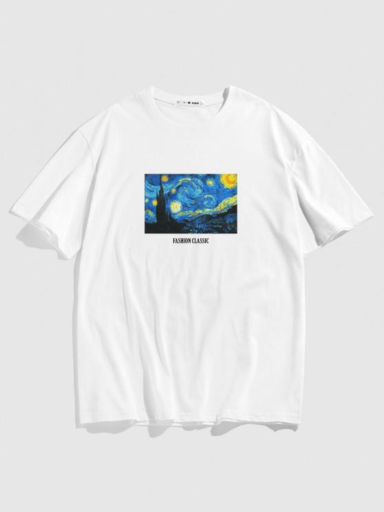 Van Gogh Galaxy Letter Print Graphic T-shirt - أبيض M