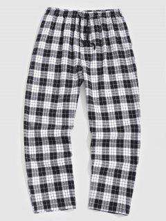 Plaid Print Straight Leg Casual Pants - Black M