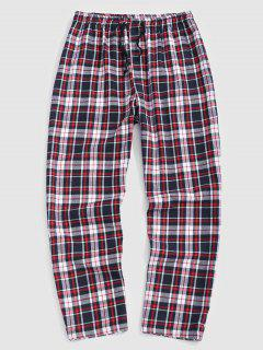Plaid Print Straight Leg Casual Pants - Light Pink S