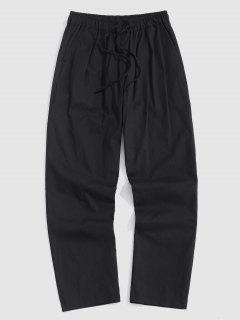 Drawstring Straight Leg Casual Pants - Black M