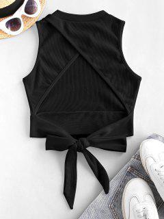 Rib-knit Back Knot Cutout Crop Top - Black M