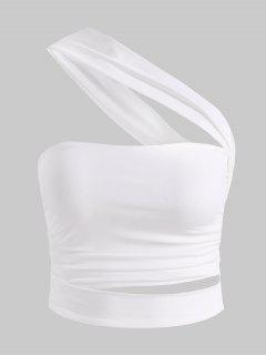 One Shoulder Ruched Cutout Crop Top - White M