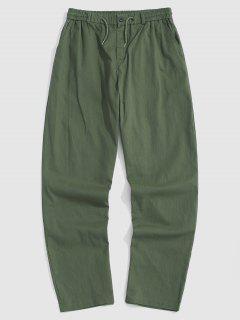 Casual Drawstring Straight Leg Pants - Army Green M