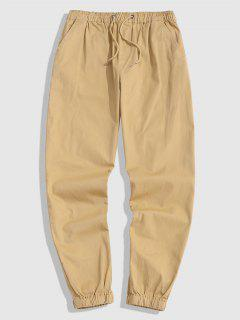 Drawstring Casual Jogger Pants - Light Yellow Xl