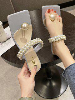 Faux Pearl Toe Post Kitten Heel Sandals - Crystal Blue Eu 39