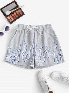 Shorts De Sudor De Bolsillo Con Estampado De Flama Con Cordones - Gris S
