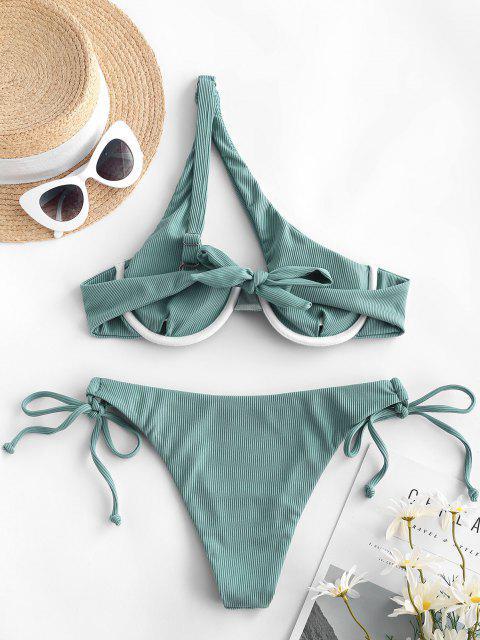womens ZAFUL Ribbed One Shoulder Underwire Tie Side Bikini Swimwear - LIGHT GREEN S Mobile