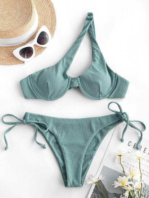 women's ZAFUL Ribbed One Shoulder Underwire Tie Side Bikini Swimwear - LIGHT GREEN L Mobile