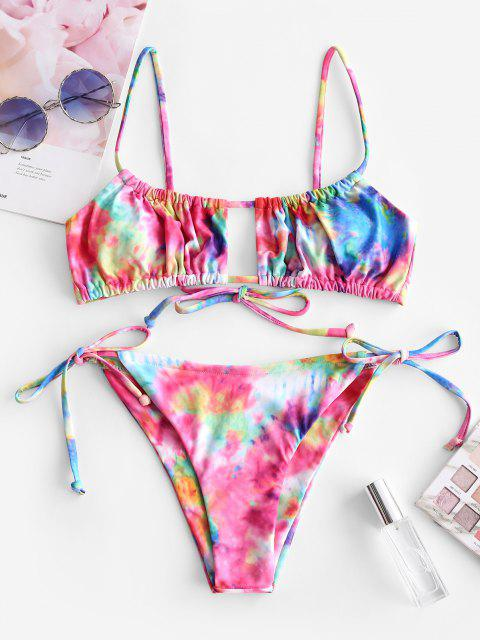 affordable ZAFUL Tie Dye Ruched Low Rise Bikini Swimwear - MULTI-A S Mobile