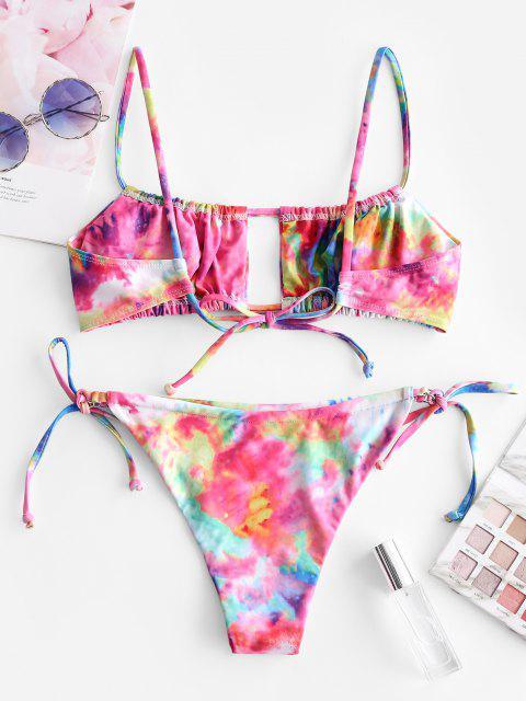 buy ZAFUL Tie Dye Ruched Low Rise Bikini Swimwear - MULTI-A M Mobile