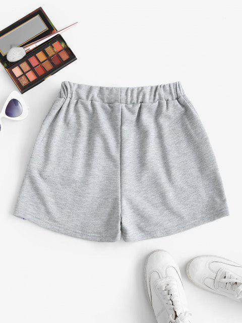 Flame Print Drawstring Pocket Sweat Shorts - الرمادي الداكن S Mobile