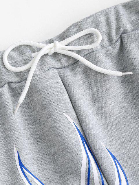 shop Flame Print Drawstring Pocket Sweat Shorts - DARK GRAY L Mobile