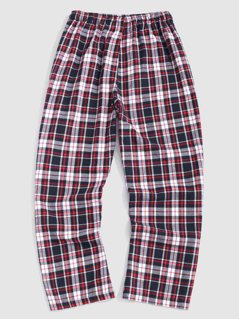 trendy Plaid Print Straight Leg Casual Pants - LIGHT PINK M Mobile