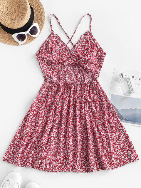 shop Ditsy Floral Criss Cross Frilled Cami Dress - RED M Mobile