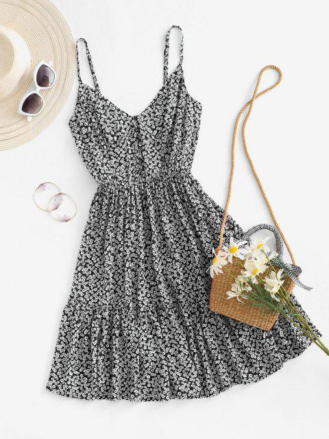 outfits Ditsy Print Smocked Back Flounce Sundress - BLACK L Mobile
