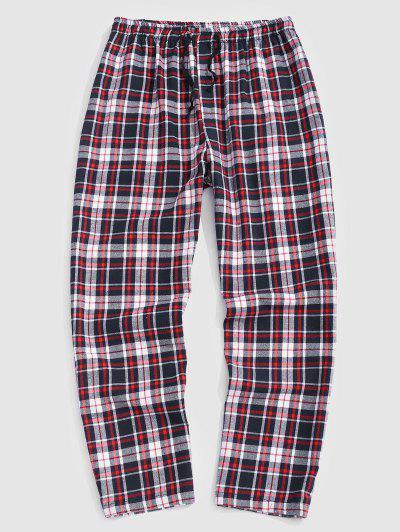Plaid Print Straight Leg Casual Pants - Light Pink M