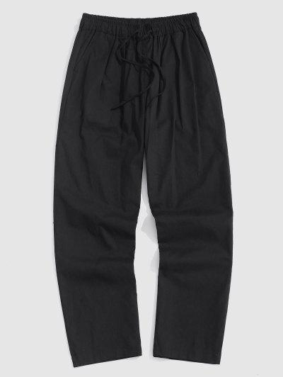 Drawstring Straight Leg Casual Pants - Black M