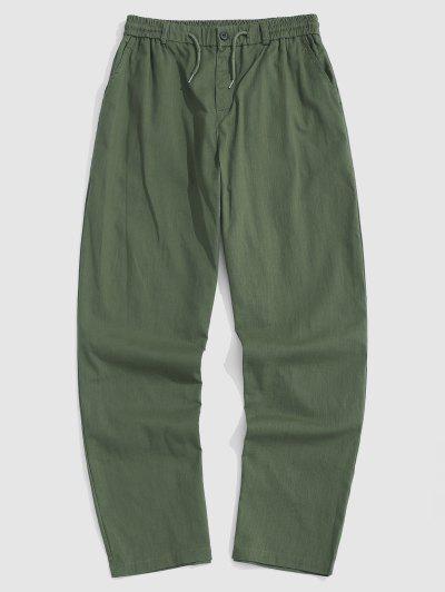 Casual Drawstring Straight Leg Pants - Army Green L