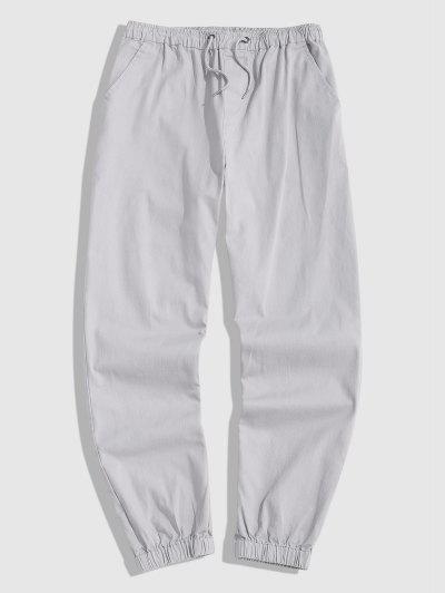 Drawstring Casual Jogger Pants - Light Gray L