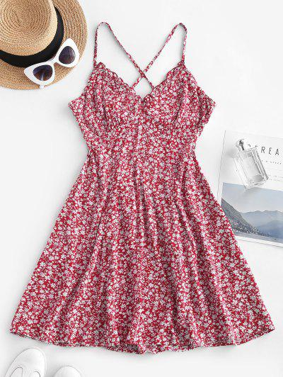 Ditsy Floral Criss Cross Frilled Cami Dress - Red L