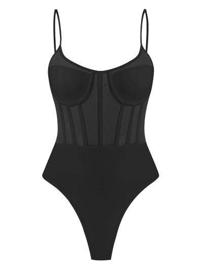Mesh Panel Corset Detail Snap Crotch Bustier Bodysuit - Black M