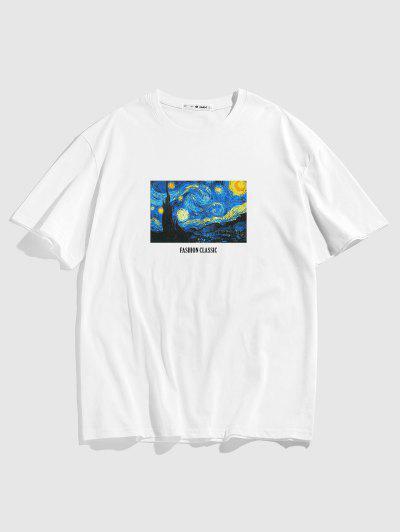Van Gogh Galaxy Letter Print Graphic T-shirt - White S