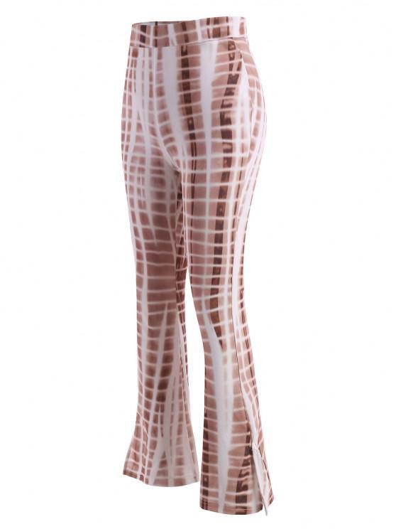 fashion Tie Dye Split Hem Flare Pants - COFFEE M