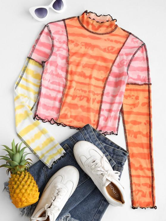 shops Tie Dye Contrast Stitching Mesh Baby Tee - LIGHT PINK XL