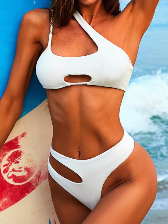 ZAFUL Asymmetrical One Shoulder Ribbed Cut Out Bikini Swimwear - أبيض S