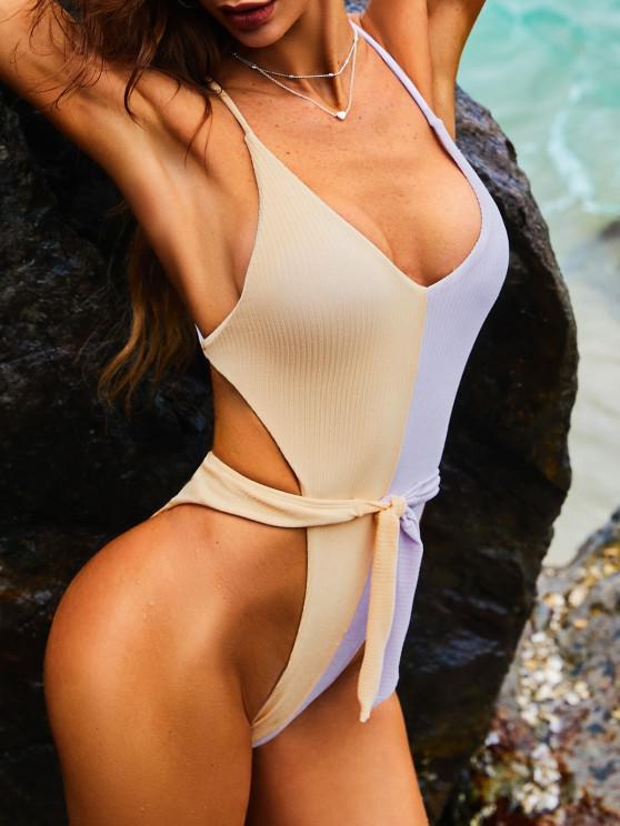ZAFUL Ribbed Bicolor Waist Tie High Cut Monokini Swimsuit - ضوء ارجواني L