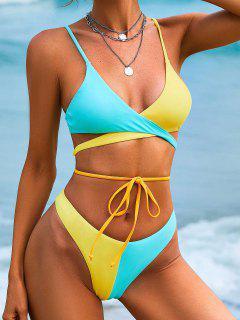 ZAFUL High Cut Neon Two Tone Wrap Bikini Swimwear - Light Blue L