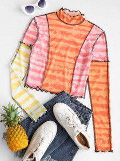 Krawattenfärbender Kontrast Nähte Maschen Baby T-Shirt - Hell-pink L