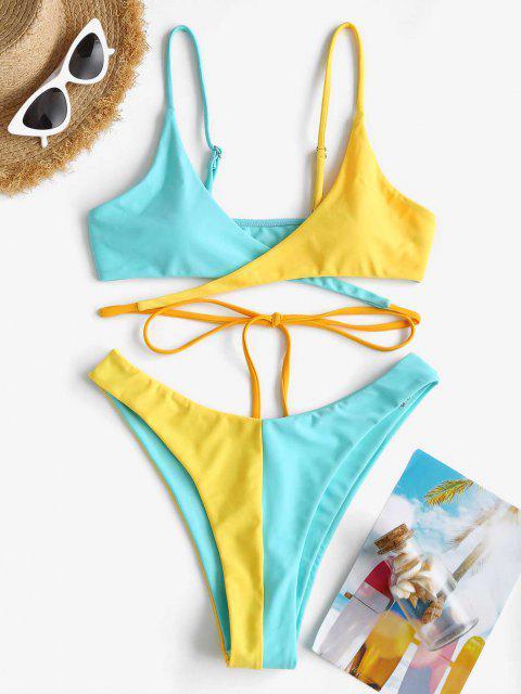 ZAFUL Costume da Bagno Bikini di Neon a Due Toni a Taglio Alto - Azzurro S Mobile